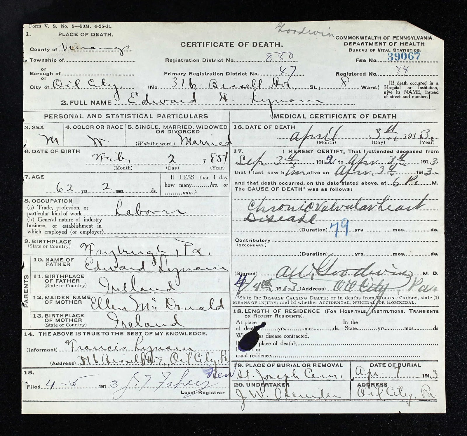 Our ancestors the murosky mcdonald ancestral lines september 2013 the release of the pennsylvania death certificates verified this link ellen is recorded as ellen mcdonald on the death certificate of her son edward lynam 1betcityfo Gallery