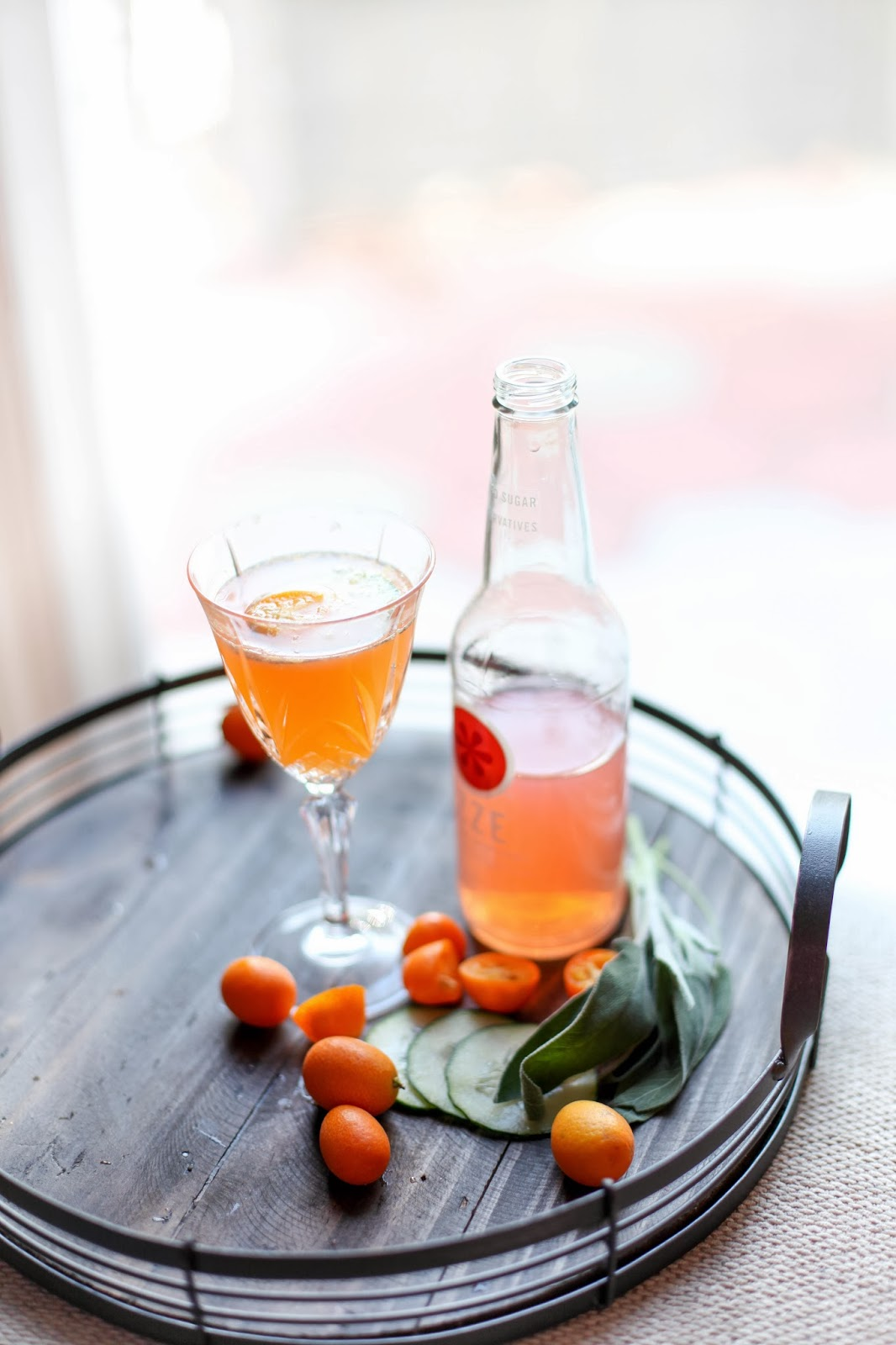 Sparkling Kumquat Fizz Mocktail for Valentine's | via Chandara Creative