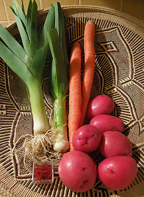 Basket of Red Potatoes, Carrots, Leeks, and Saffron