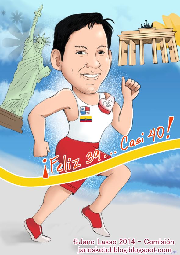 Caricatura digital para deportista panameño