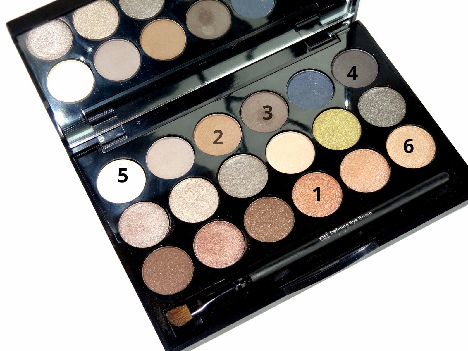 e.l.f cosmetics essential 18 piece palette eyeshadow choices for makeup look