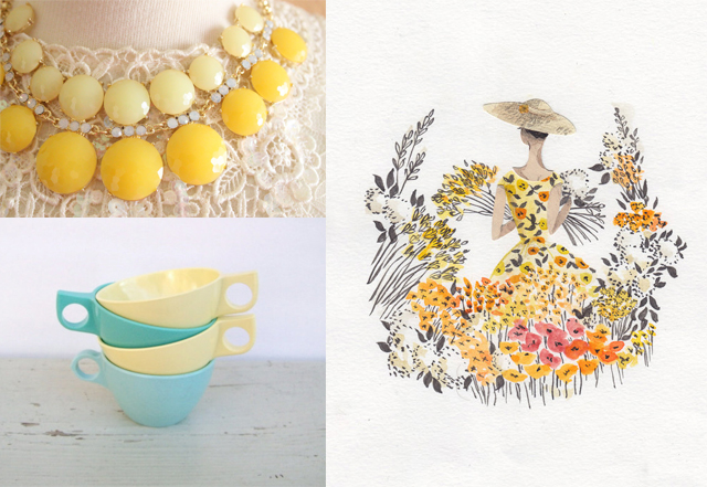 collage of pastel yellow items