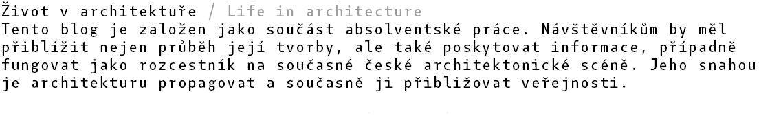 život v architektuře
