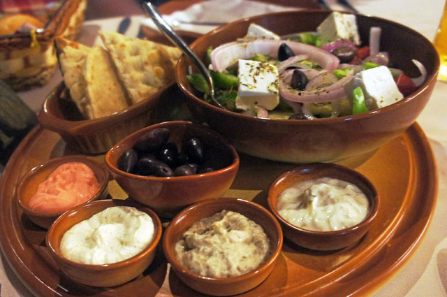 Greek Salad and Dips
