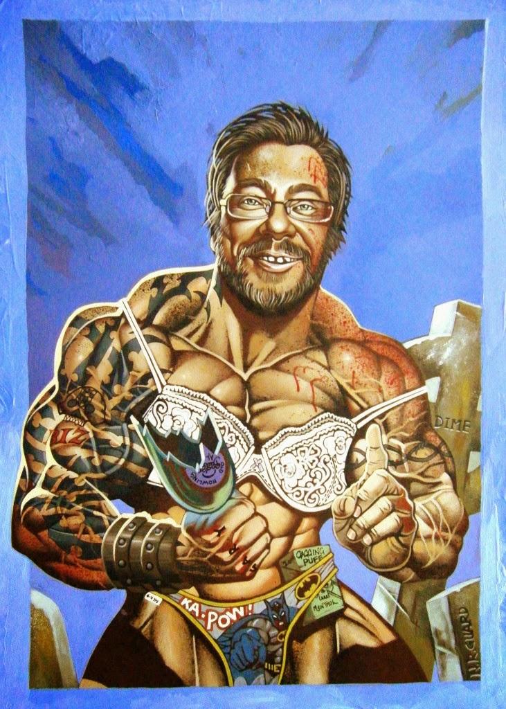 Dessin de Noël Guard représentant  une homme barbu, tatoué et musclé enlevant un soutien gorge