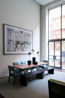 Appealing Wooden Dining Sets With Benches in the Dining Space with Unique Wall Art and Wide Glass Walls