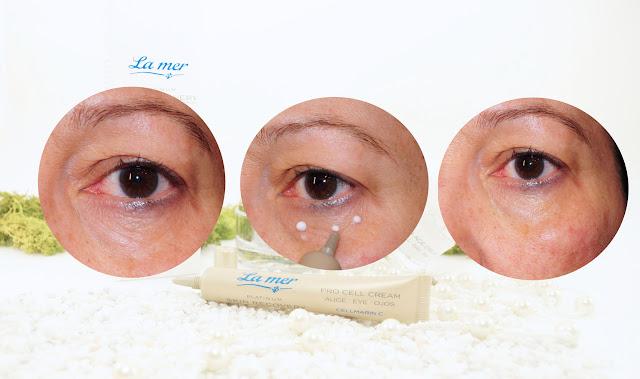 Augencreme aufgetragen