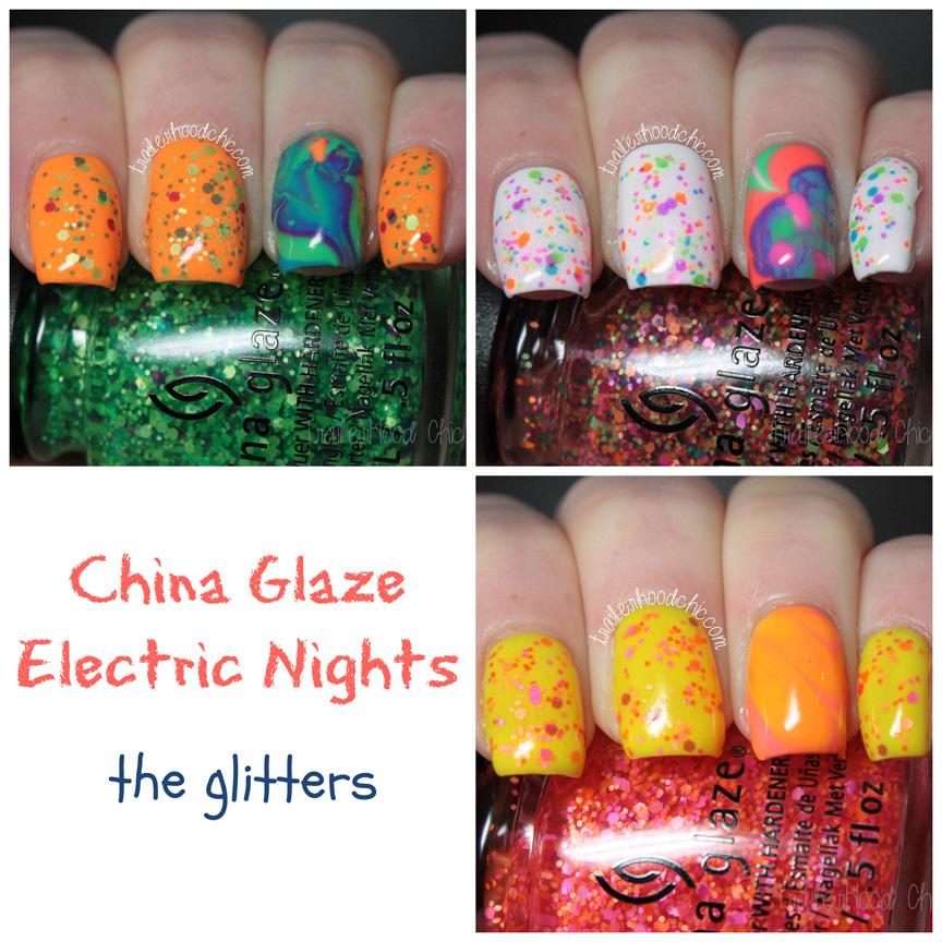 china glaze electric nights glitters neon watermarble