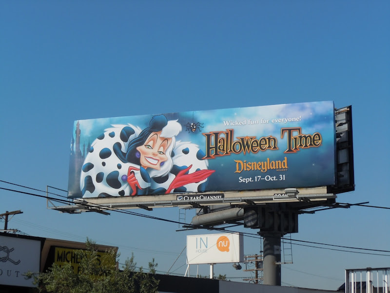 Cruella de Vil Halloween Time Disneyland billboard