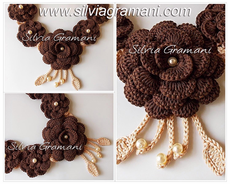 Colar de Crochê com Flores - Colar Jussara