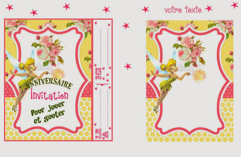 Tarjeta de invitación de Tinkerbell para imprimir - Imagui