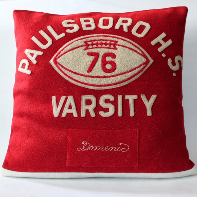 Varsity Jacket Pillow Upyclce