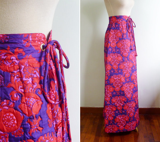 vintage quilted maxi silk skirt
