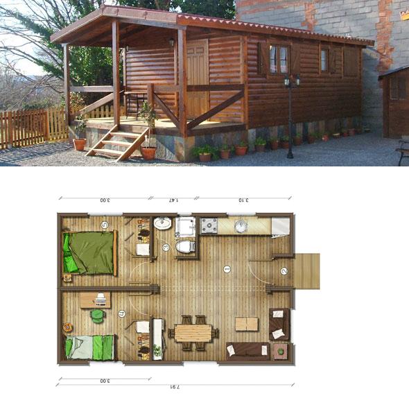 Casas de madera en espa a planos casas de madera 40 m2 for Habitaciones prefabricadas precios