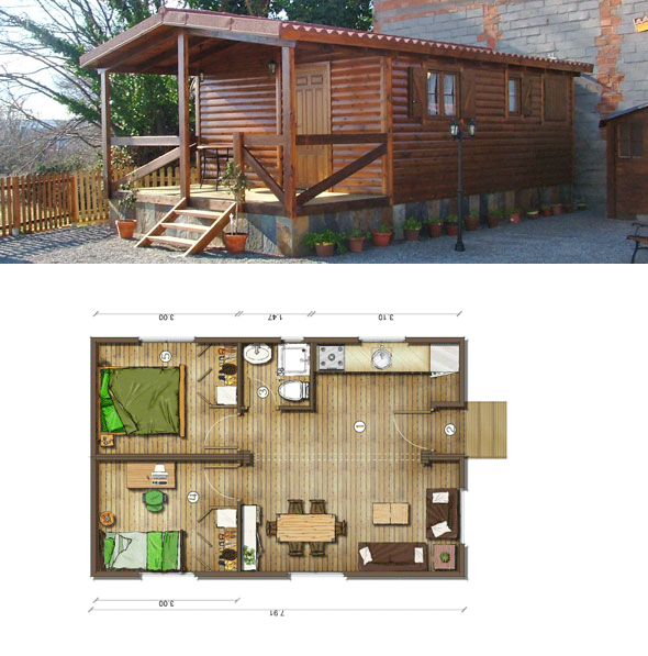 Casas de madera en espa a planos casas de madera 40 m2 - Planos casa de madera ...