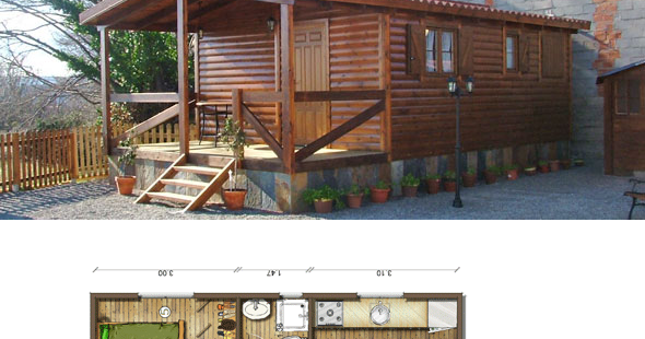 Casas de madera en espa a planos casas de madera 40 m2 - Planos de casas en espana ...