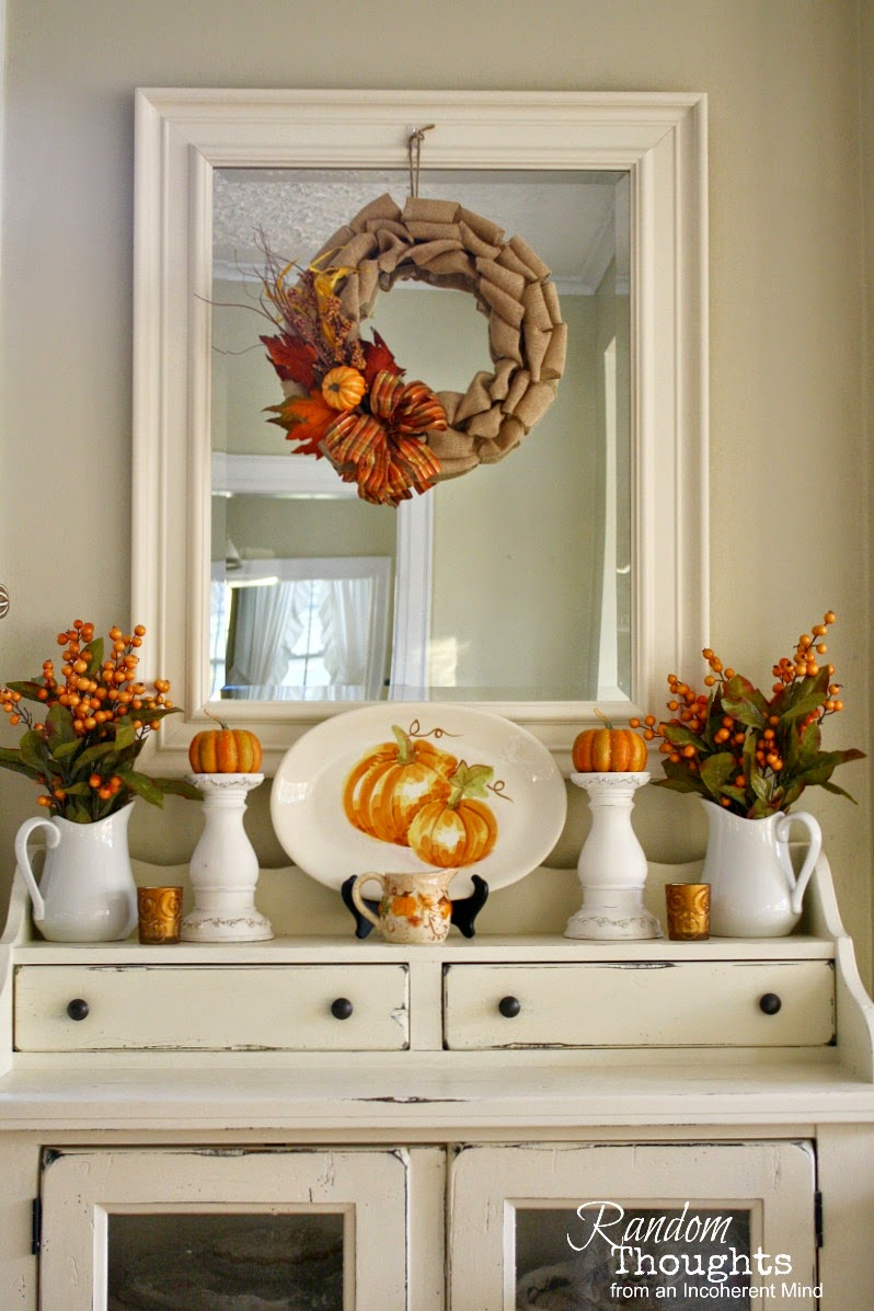 Fall decor dining room hutch random thoughts home for Hutch decor