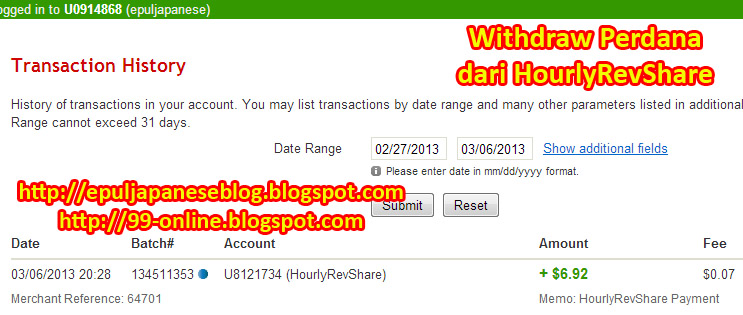 bukti pembayaran pertama dari hourlyRevShare