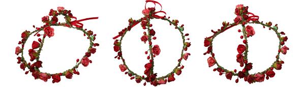 flower, headwear, headchain, flower head chain, head chain, roses and clementines, red rose, headband, flower headband, garland, hippy headwear, festival headband