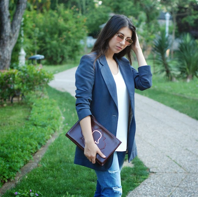 streetstyle,trendydolap.blogspot.com,mehry mu bags,michael kors nude pump,effortless chic,cigarette jeans,blazer