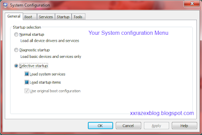 msconfig system configuration menu