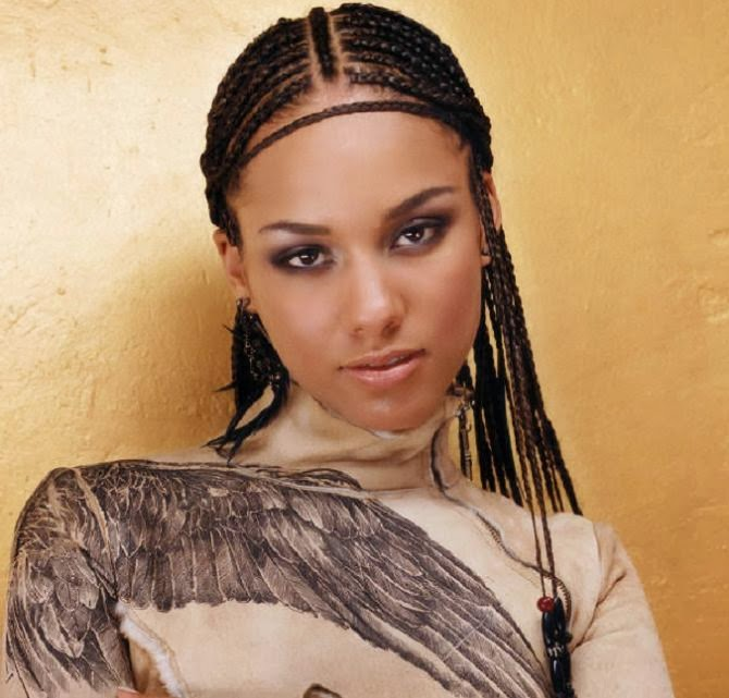 Alicia Keys with cornrows and forehead braid (photo courtesy of ...