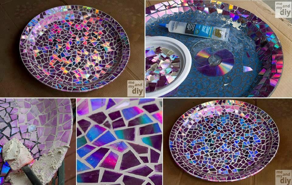 Artesanatos com bibi prato com enfeite se cds for Mosaico fai da te