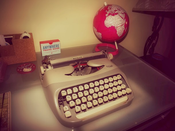 vintage typewriter, pink globe, Anywhere Travel Guide, desk inspiration photos, Royalite typewrite, royal typewrite, gray typewrite, grey typewrite, silver typewriter