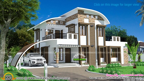 House curved roof style kerala home design bloglovin for Curved roof house plans