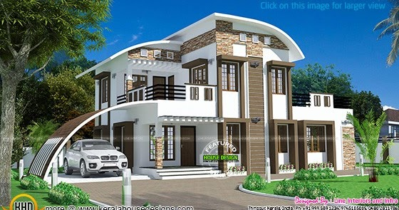 Curved Front Elevation Designs : House curved roof style kerala home design and floor plans