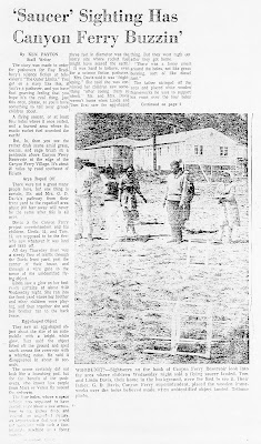Saucer Sighting Has Canyon Ferry Buzzin' - Great Falls Tribune 5-1-1964