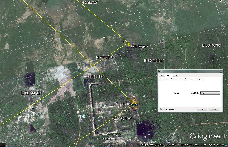Aerial view on Sigiriya, Pidurangala from altitude height of 4 km, Google Earth