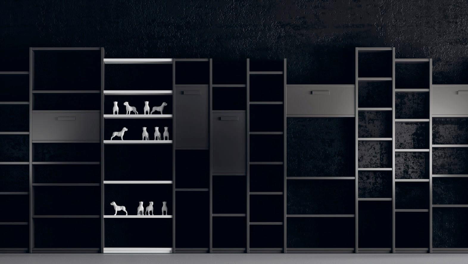 estanteria a medida con puertas color gris