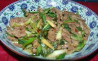 Chinese lamb recipe home cooking stir fry lamb with spring onion