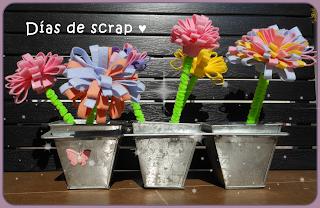 Scrap centro de flores de fieltro