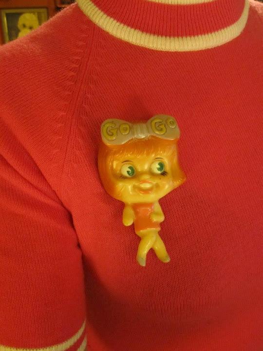 vintage gogo girl brooch , slobster brooch , Generation X badge , Sham 69 badge 1960 60s 1970 70s punk pin pinback button plastic