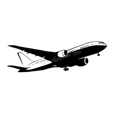 Boeing 787 Dreamliner airplane, stencil image