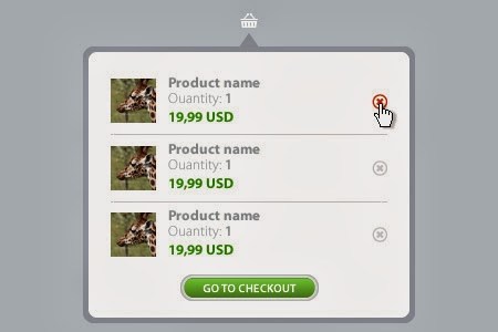 Shopping cart tooltip