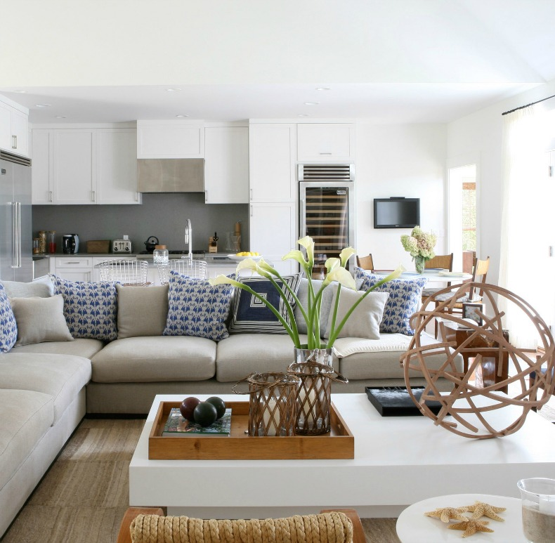 slipcover sectional in a coastal room