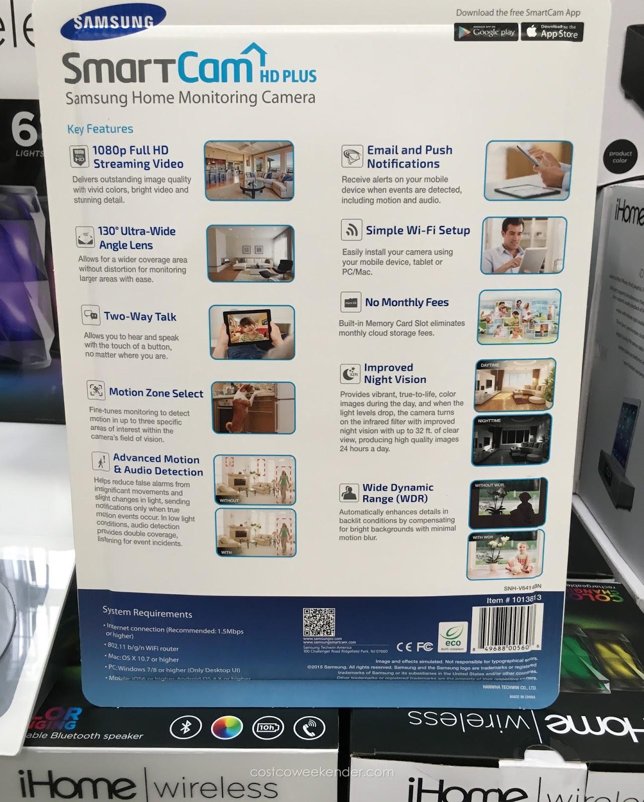 Samsung Smartcam Hd Plus Home Monitoring Camera Snh V6414bn Costco