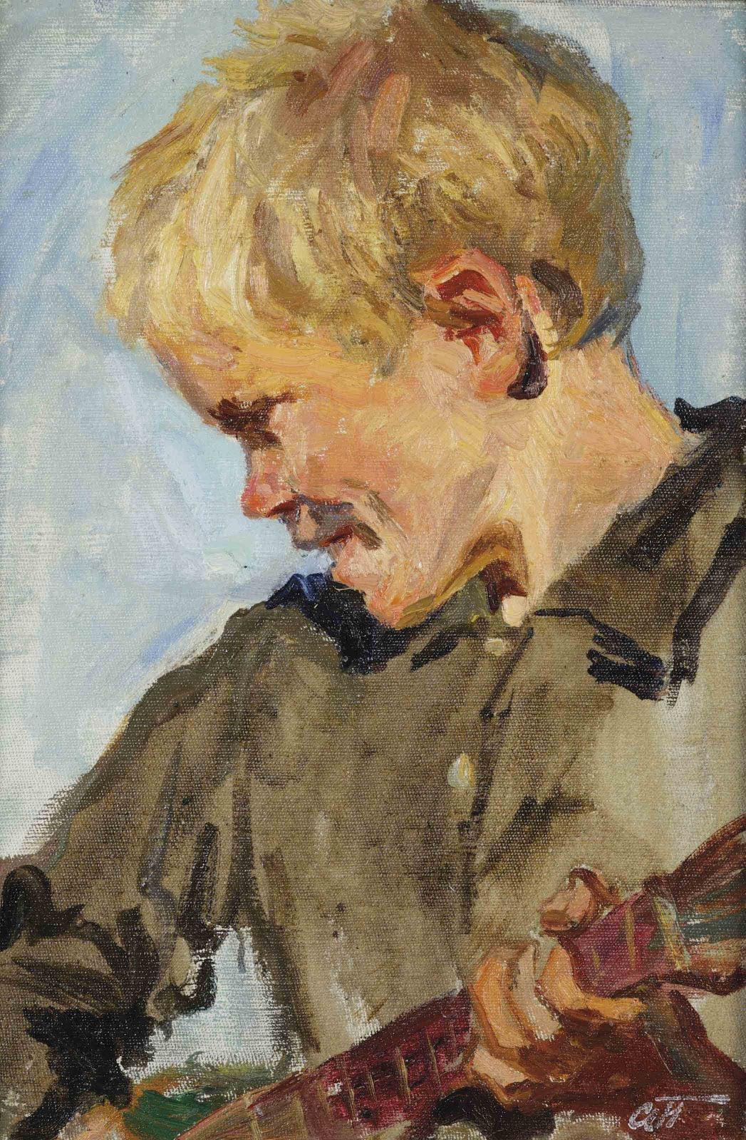 Arkady Plastov Study for the fair a boy playing the balalaika