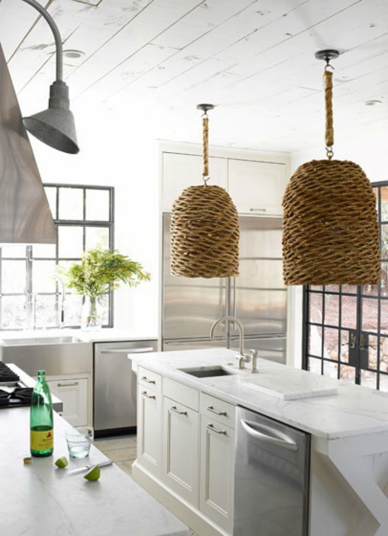Coastal kitchen with wicker shade pandant lights