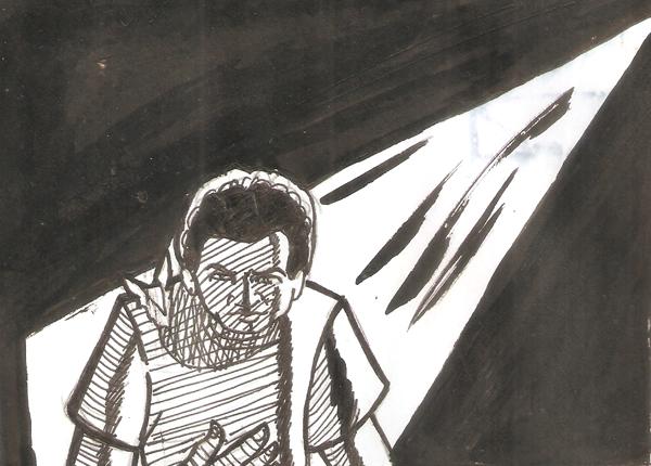 Menino negro com camisa rasgada no ombro andando no escuro, olhando para a palma da mão. Uma luz vem de um ponto incerto na parte superior da imagem (preto e branco). Desenho feito com pincel e nanquim sobre folha de sufite, por Jota Fagner em 2012