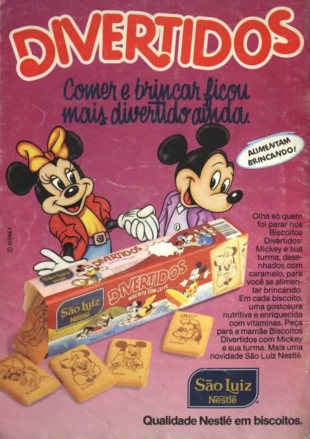 Propaganda dos Biscoitos Divertidos da São Luiz Nestlé em 1990: personagens da Disney estampavam a série.