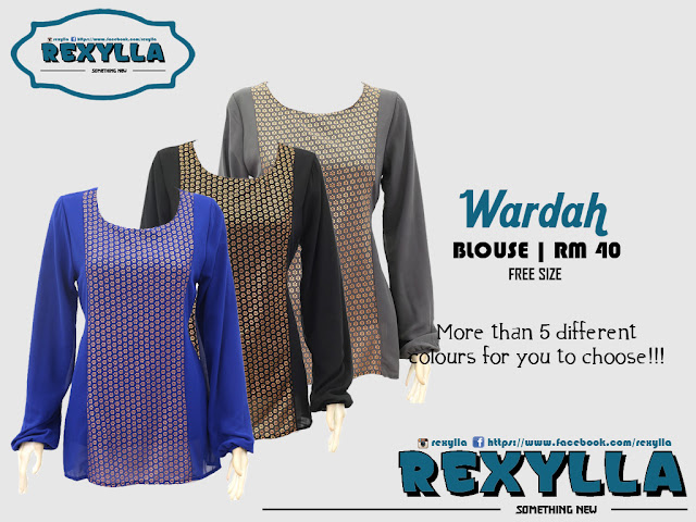 rexylla, blouse, chiffon blouse, wardah collection