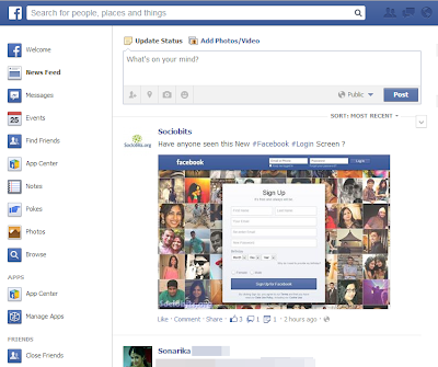 Facebook testing new left sidebar similiar to that of redesigned sidebar