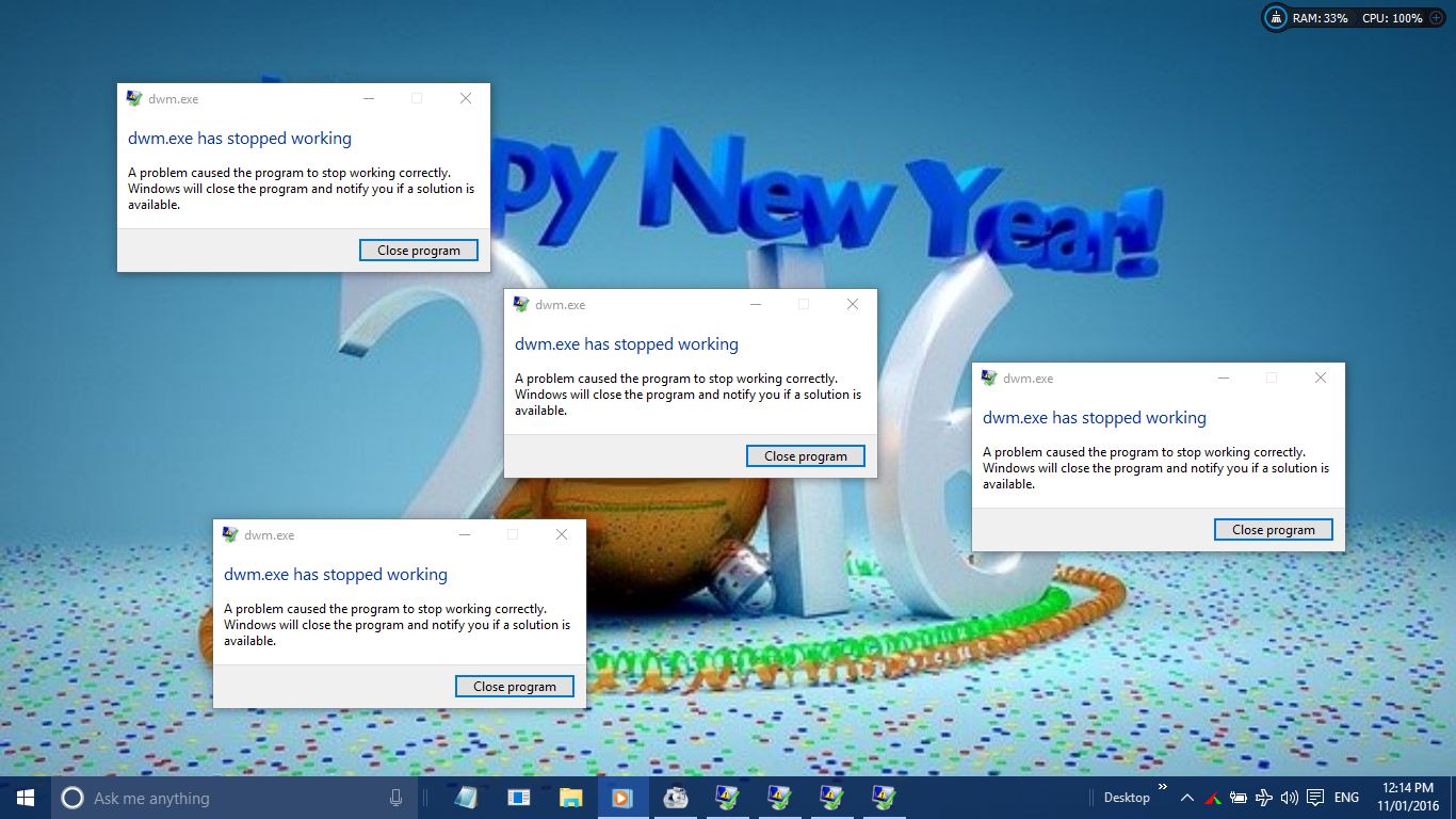 desktop windows manager has stopped working and was closed