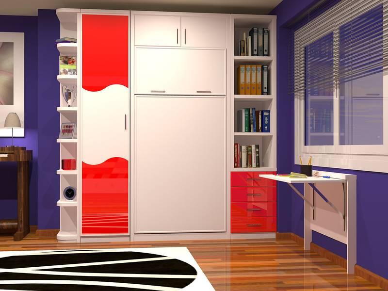 Dormitorios con cama abatible vertical for Camas abatibles juveniles