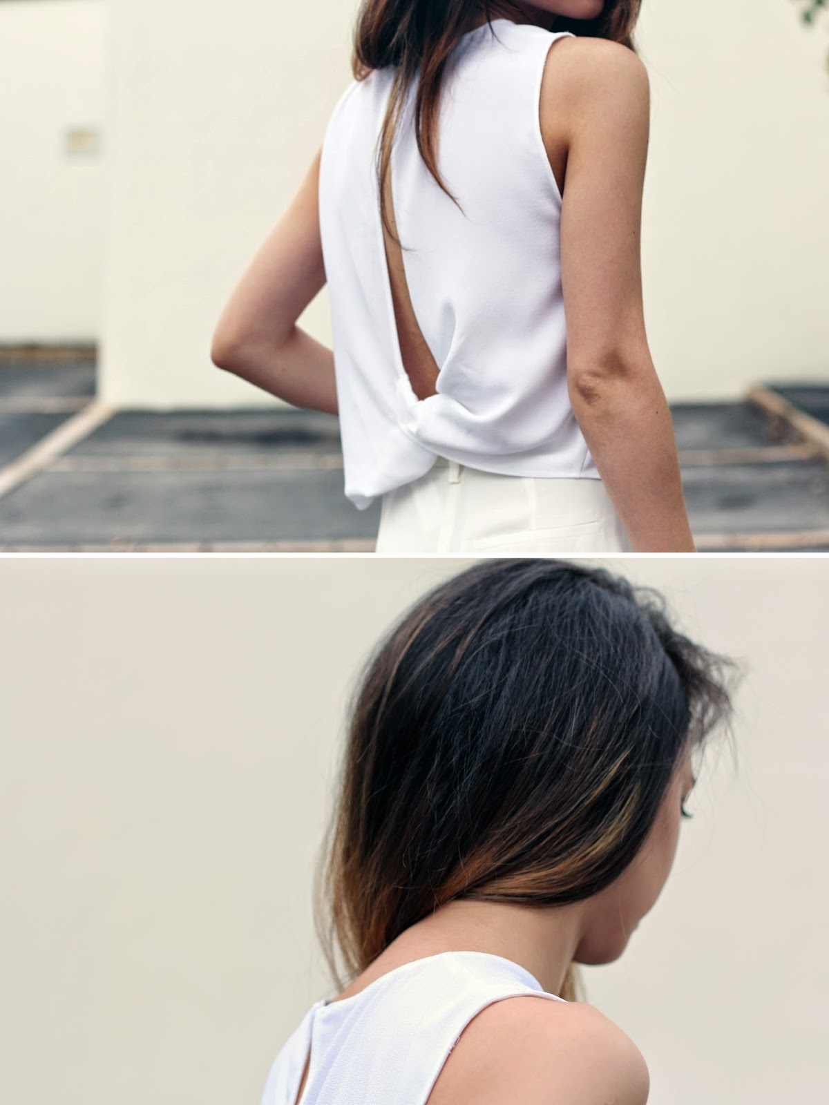 I'M WEARING ZARA TOP WITH KNOTTED BACK