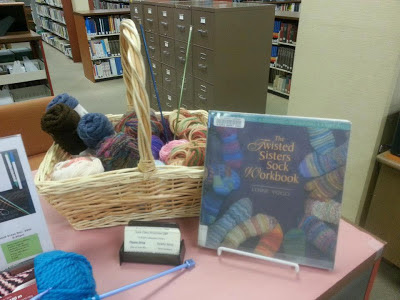 Needlework books, yarn and knitting needles on display at Lakeport Library